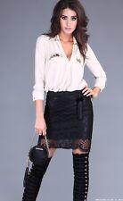 Formal Elegant Pencil Fit Evening Black Leather look Lace finish Mini Skirt M