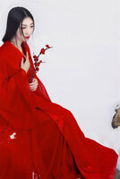 Women's Traditional Hanfu Retro Chinese Long Dress Red Chiffon Cosplay Costume