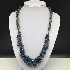 Simply Vera Wang Gunmetal Gray Blue Crystal Beaded Statement Necklace