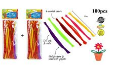 100pcs Fluro Chenille Pipe Cleaners Sticks 30cm Assorted Colour Brand New CR445