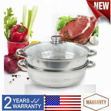 Stainless Steel 2-Tier Steamer Induction Steam Steaming Pot Kitchen Cookware Set