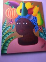 Beautiful African American Woman Framed Oil Painting 16 X 20