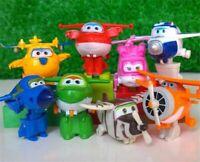 8Pcs TV Animation Super Wings Transforming Plane Mini Toys Characters Kids Kits'