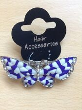 A Blue And White Enamelled And Diamanté Metal Butterfly Barrette Hair Clip
