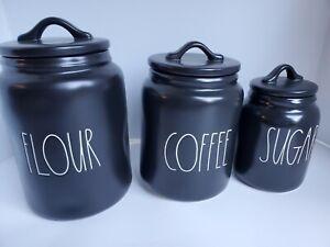 Rae Dunn  Flour Coffee Sugar Canister Set Of 3 Black MATTE HTF