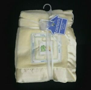 """CARTER'S """"BABY KISSES"""" Yellow FROG DUCK Baby Blanket Patch Satin Trim Edge NWT"""