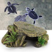 Fish Tank Reptile Hide Cave Pet Basking Platform Aquarium Artificial Resin Decor