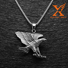"24"" ""Men's Fashion Stainless Steel Silver Eagle Pendant Necklace 3mm Box Chain"