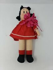 "1944 14"" Antique Vintage Painted Face Cloth Doll Little LuLu Black Pigtails"