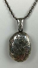 Antique Edwardian Sterling Silver Siam Locket Necklace