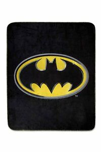 "DC Comics Superman Shield Logo and Batman ""Emblem"" Fleece Throw Blanket 50""x60"""