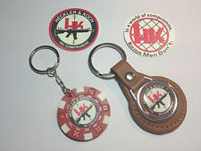 HECKLER & KOCH GUNS  LEATHER KEY RING,  POKER CHIP KEYRING &  FREE H&K STICKERS
