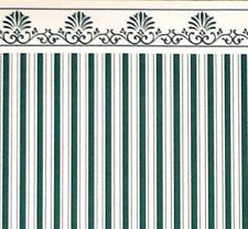 Melody Jane Puppenhaus Grün Creme Windsor Streifen Miniatur 1:12 Tapete