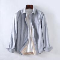 Winter Men Velvet Long Sleeve Slim Classic Fit Solid Chambray Thick Denim Shirt