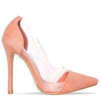 Womens Ladies Perspex Clear Stiletto High Heel Sandals Slip On Court Shoe Size