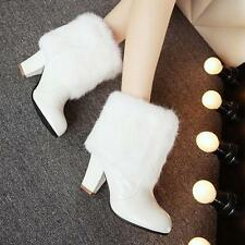 Ladies Fur Trim Block Heels Sweet Pull On Warm Ankle Boots Snow Shoes Plus Pink