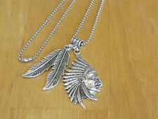 Men's Southwestern Indian Chief Pendant Necklace Silver-Tone Feather/Ball Chain