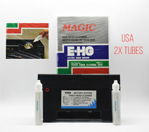 Video Head Cleaner For VHS VCR Player Recorder New w/ TWO Liquid Tubes!