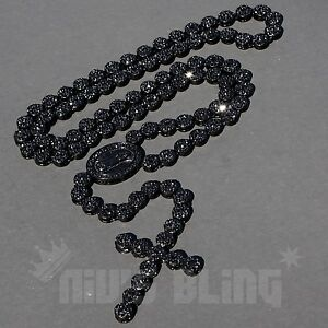 Jet Black Onyx CZ Out Iced ROSARY FLOWER Jesus Cross Pendant Mens Necklace Chain