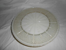 Vintage custard milk glass cake stand w/gold accents Lovely!