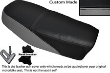 BLACK & GREY CUSTOM FITS YAMAHA DT 50 MX DUAL LEATHER SEAT COVER ONLY