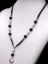 White Pearl and Black Agate Leather & Silver Necklace