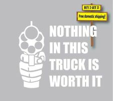 Nothing in this truck is worth dying for Gun Law Castle Law! Decal Sticker  GN72