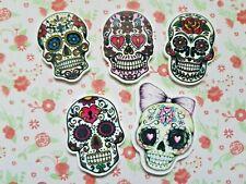 5 x Mix Mexican Sugar Skull Flatback Planar Resin Embellishment Crafts Bow UK
