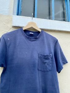 Vintage Fruit of the Loom Navy Blue Thrashed T Shirt