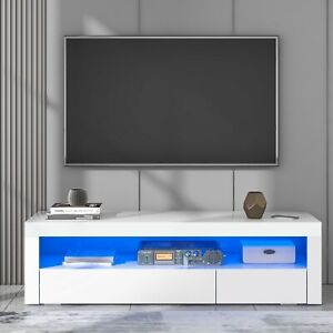 LED TV Unit Stand Cabinet High Gloss with Remote 16 Colors 145 cm with 2 doors