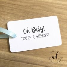 10 White Baby Shower Gift Tags You're A Winner Favour Party Games Tag Oh Baby!