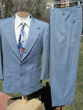 Early 1950s Swing Hollywood Suit 40S W31 - Bright Baby Blue w/ Patch Pockets