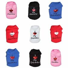 Dog Pet Clothes Summer I Love My Mommy Vest Sleeveless Dog T-Shirts Apparel HOT