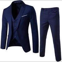 Mens One Button Blazer Suit Lapel Collar Coat Slim Fit Jacket Vest Pants 3 Pcs