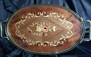 ITALIAN LAQUER WOOD INLAY DRESSER TRAY *TEA TRAY* SERVING TRAY*  RICH FLORAL*