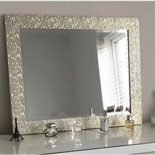 Large Mosaic Effect Silver Dressing Table Wall Mirror BN