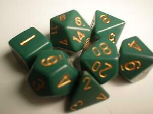 Chessex Dice Sets: Green/Copper Dusty Opaque Polyhedral 7-Die Set