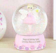 Personalised Pink Fairy Christmas Snow Globe Christening Gift 1st Birthday