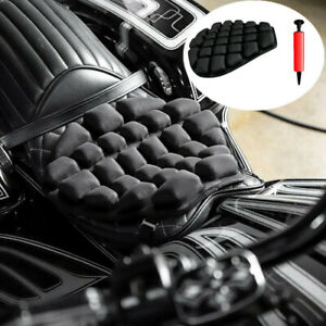 Black 3D Air Pad Motorcycle Seat Cushion Shock Absorption Non-slip 40 x 35cm