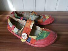 135e0ea6f9bd0 Chaussures ballerines babies cuir rouge ART 36 empiecements à scratch