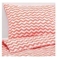 IKEA TWIN Duvet Set SOMMAR Cover and Pillowcase Light Red Chevron New Dorm