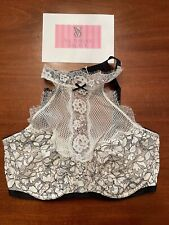 NWT VICTORIA'S SECRET BRA mesh BLACK WHITE LACE high neck RUFFLE LACE bra 34ddd