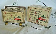 VTG/MID CENTURY GOLD-PLATED NAPKIN HOLDER BLESS THIS HOUSE KITCHEN DECOR w Box