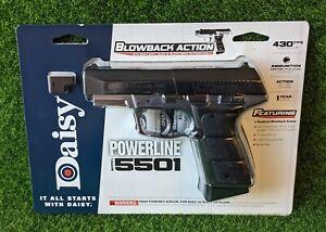 Daisy Powerline 5501 BB Pistol, .177 Cal, 430 FPS CO2, Black/Silver - 985501-442