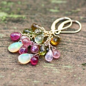 Natural Rainbow Tourmaline and Opal Earrings Solid 14K Yellow Gold , October Bir