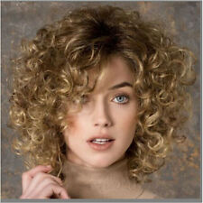 Women Medium Blonde Brown Mixed Curly Natural Synthetic Hair Cosplay wig+cap