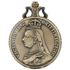 Vintage Quartz Pocket Watch Gift Lady Queen Victoria of England  Steampunk Chain