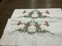 Vintage Hand Embroidered pillow case set Flowers and Butterflies