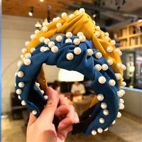 Women's Tie Hairband Headband Twist Wide Pearl Knot Hair Hoop Bands Accessories