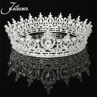 Sweet Luxury Crystal Queen Full Round Crown Rhinestone Bridal Tiara